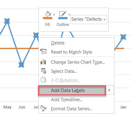"Choose ""Add Data Labels"""