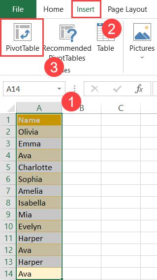 Create a pivot table