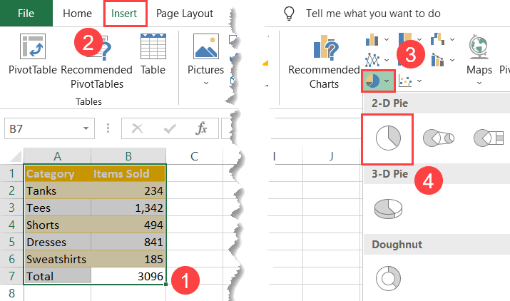 Create a regular pie chart