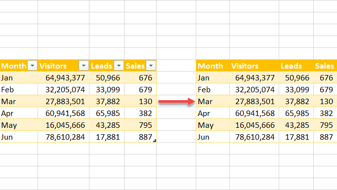 How to convert a table to a normal range in Excel