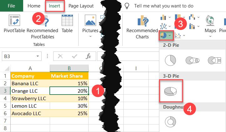 Insert 3-D pie chart