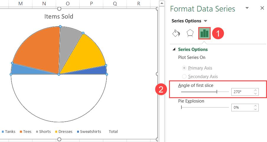Rotate the half pie chart